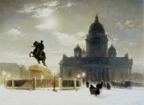 Vas.Surikov. Bronze Horseman on the Senate Square. Rusian Museum